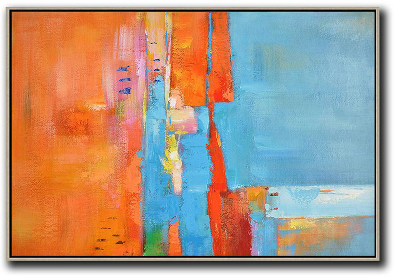 Abstract Painting Extra Large Canvas Art,Oversized Horizontal Contemporary Art,Hand Painted Acrylic Painting,Orange,Sky Blue,Yellow.etc