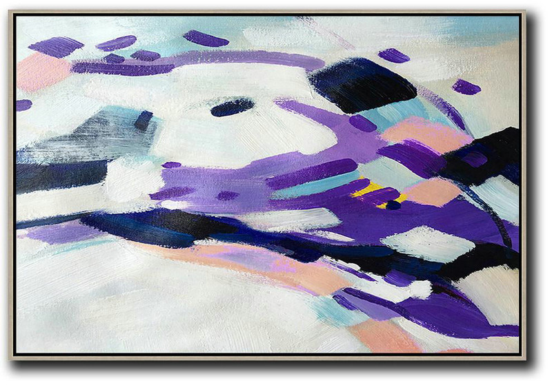 Large Abstract Art,Oversized Horizontal Contemporary Art,Hand Painted Acrylic Painting,White,Purple,Pink.etc