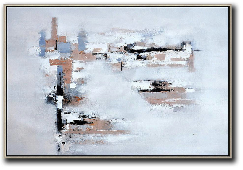 Large Contemporary Art Acrylic Painting,Oversized Horizontal Contemporary Art,Hand-Painted Canvas Art,White,Grey,Beige.etc