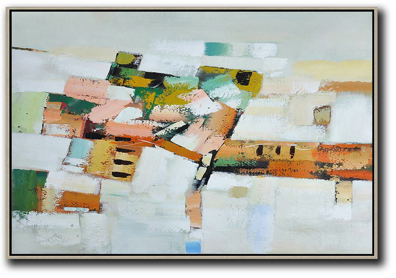 Large Abstract Painting Canvas Art,Oversized Horizontal Contemporary Art,Handmade Acrylic Painting,Grey,White,Pink,Orange,Yellow.etc