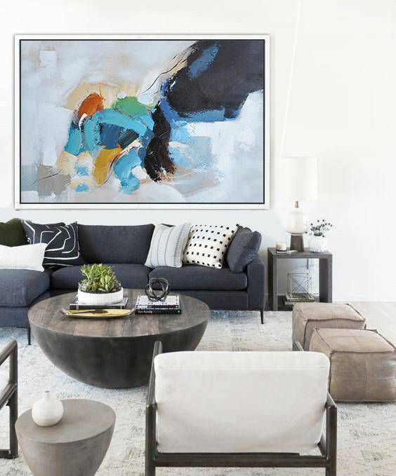 Large Wall Canvas Paintings,Oversized Horizontal Contemporary Art,Modern Paintings,White,Black,Grey,Blue,Yellow.etc