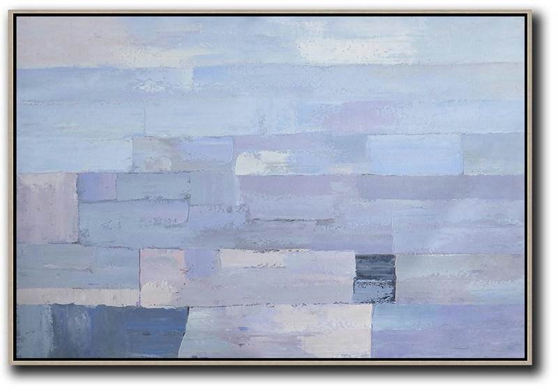 Big Living Room Decor,Oversized Horizontal Contemporary Art,Canvas Wall Art,Sky Blue,Purple,White.etc