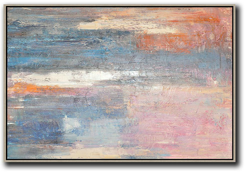 Large Abstract Art Handmade Oil Painting,Oversized Horizontal Contemporary Art,Hand Painted Aclylic Painting On Canvas,Pink,Blue,Grey.etc