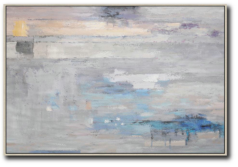 Large Abstract Art Handmade Painting,Oversized Horizontal Contemporary Art,Original Art Acrylic Painting, Grey,Blue,White.etc