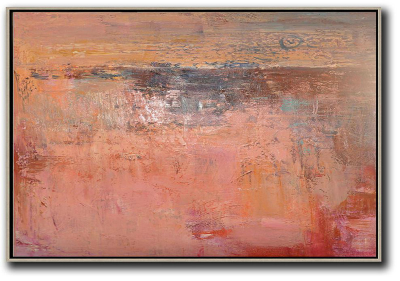 Large Modern Abstract Painting,Oversized Horizontal Contemporary Art,Huge Abstract Canvas Art,Pink,Nude,Brown,Red.etc