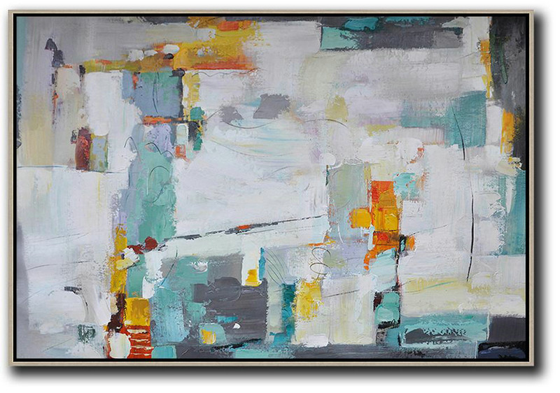 Original Abstract Oil Paintings,Oversized Horizontal Contemporary Art,Large Canvas Art,Modern Art Abstract Painting,White,Grey,Lake Blue,Yellow.etc