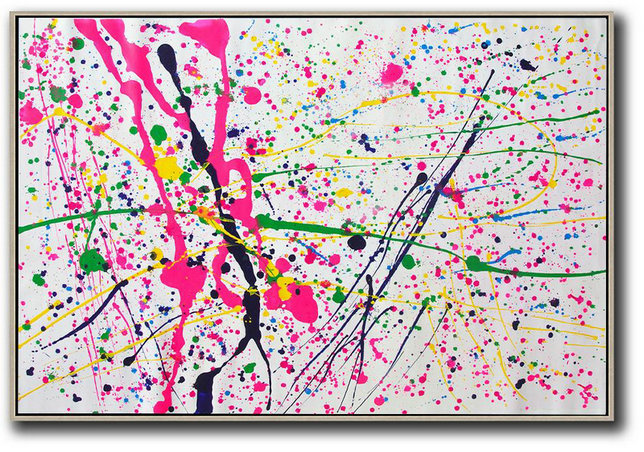 Contemporary Canvas Paintings,Oversized Horizontal Contemporary Art,Original Abstract Painting Canvas Art,Pink,White,Yellow,Green.etc