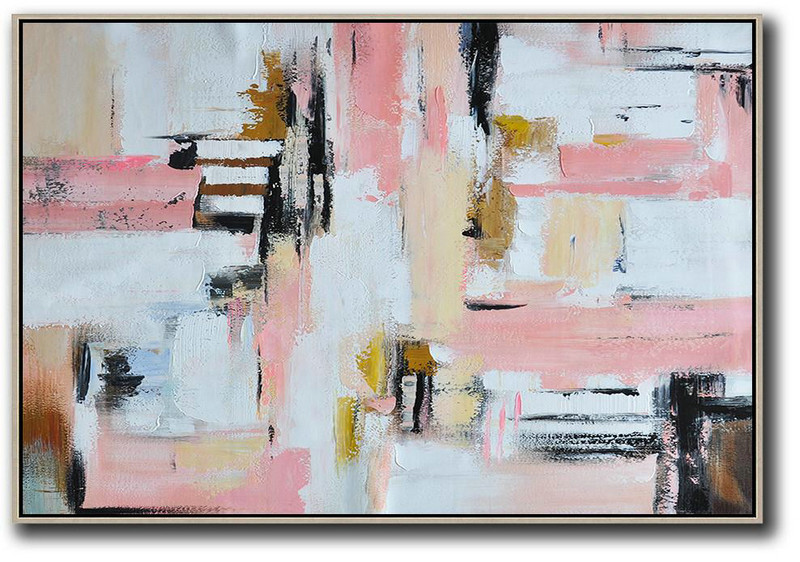 Original Abstract Painting Extra Large Canvas Art,Oversized Horizontal Contemporary Art,Huge Abstract Canvas Art,White,Pink,Light Yellow,Black,Brown.etc