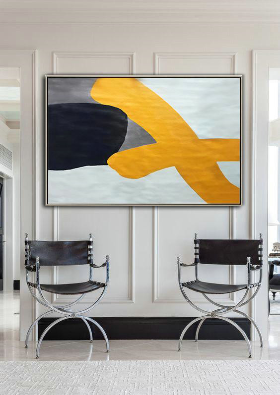 Abstract Artwork Online,Oversized Horizontal Contemporary Art,Extra Large Wall Art,White,Yellow,Black,Grey.etc