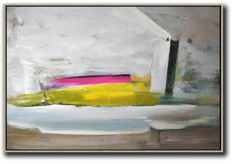 Large Contemporary Art Acrylic Painting,Horizontal Palette Knife Contemporary Art,Acrylic On Canvas Abstract,Grey.Yellow,Pink.etc