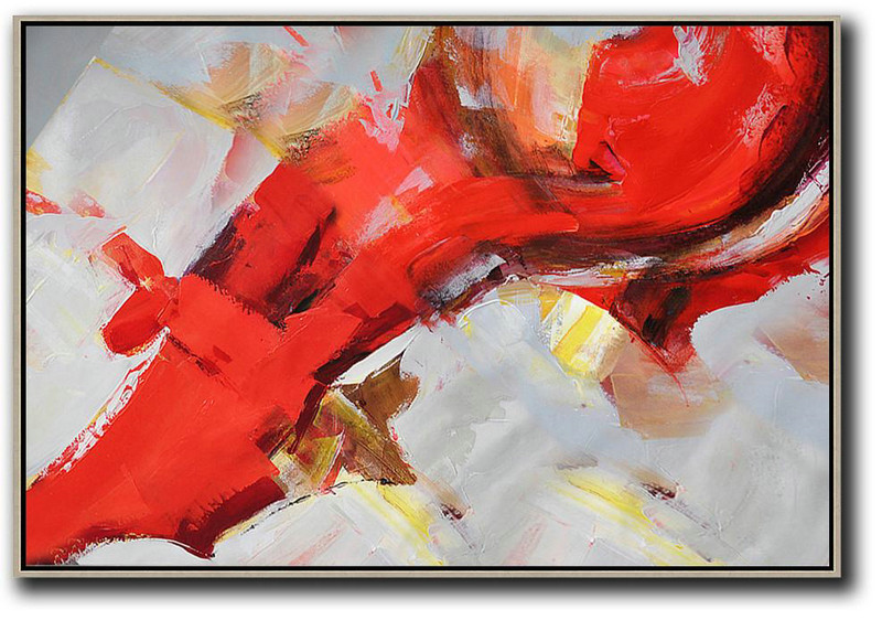 Contemporary Artwork,Horizontal Palette Knife Contemporary Art,Pop Art Canvas,Red,Grey,Yellow.etc