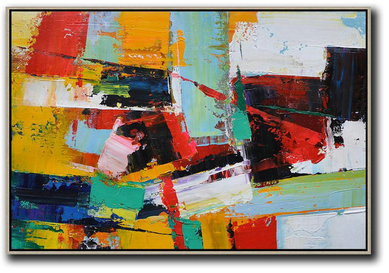 Contemporary Abstract Painting,Horizontal Palette Knife Contemporary Art,Original Art,Yellow,Red,White,Blue.etc