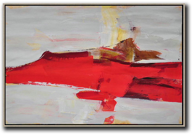 Hand Painted Extra Large Abstract Painting,Horizontal Palette Knife Contemporary Art,Custom Oil Painting,Red,Grey,Yellow.etc