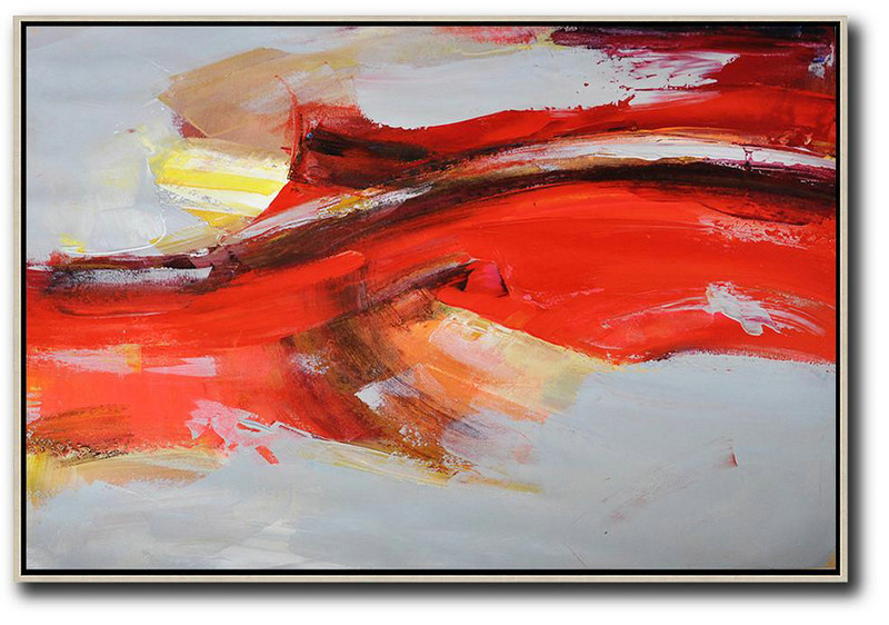Large Abstract Art,Horizontal Palette Knife Contemporary Art,Contemporary Canvas Paintings,Red,Grey,Yellow.etc
