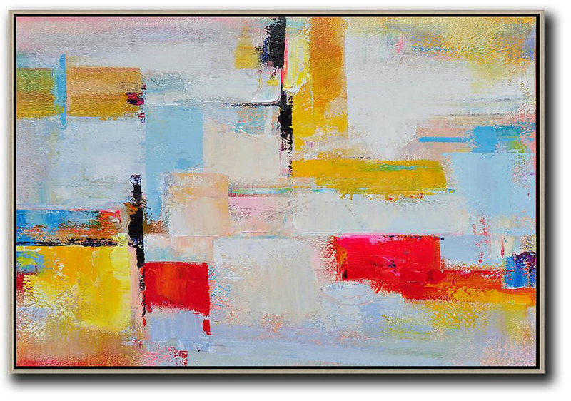 Abstract Painting Extra Large Canvas Art,Horizontal Palette Knife Contemporary Art,Abstract Artwork Online,Yellow,White,Red.etc