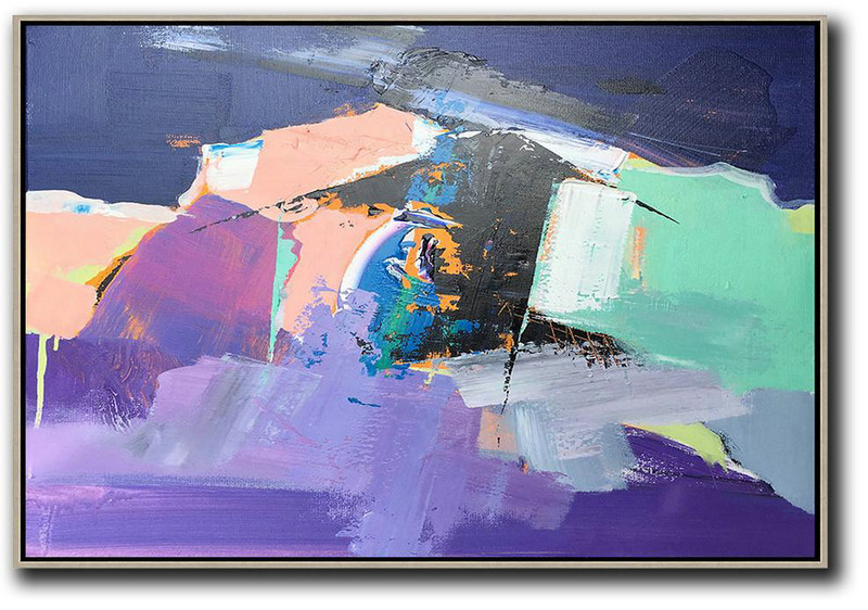 Extra Large Canvas Art,Horizontal Palette Knife Contemporary Art,Abstract Painting For Home,Pink,Purple,Black.etc