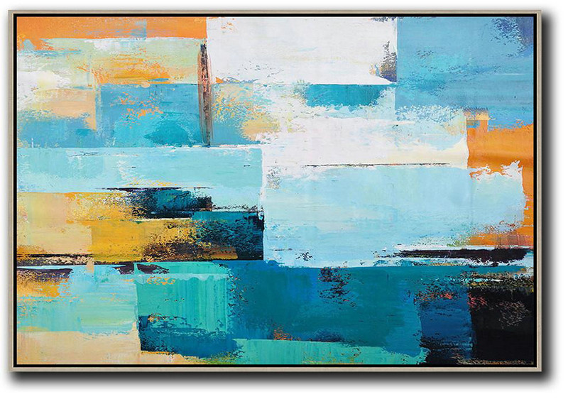 Handmade Large Painting,Horizontal Palette Knife Contemporary Art,Contemporary Art Wall Decor,Blue,White,Yellow.etc