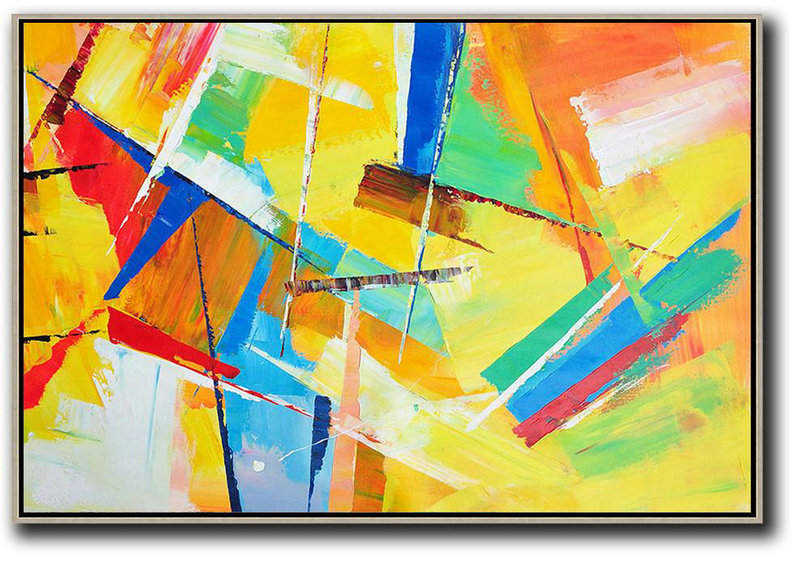 Extra Large Acrylic Painting On Canvas,Horizontal Palette Knife Contemporary Art,Huge Abstract Canvas Art,Yellow,Red,Blue.etc