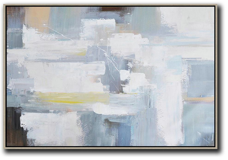 Canvas Artwork For Living Room,Horizontal Palette Knife Contemporary Art,Modern Canvas Art,Grey,White,Yellow,Brown.etc