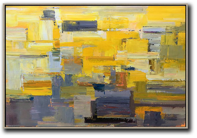 Abstract Painting Extra Large Canvas Art,Horizontal Palette Knife Contemporary Art,Original Abstract Painting Canvas Art,Yellow,Grey,White.etc