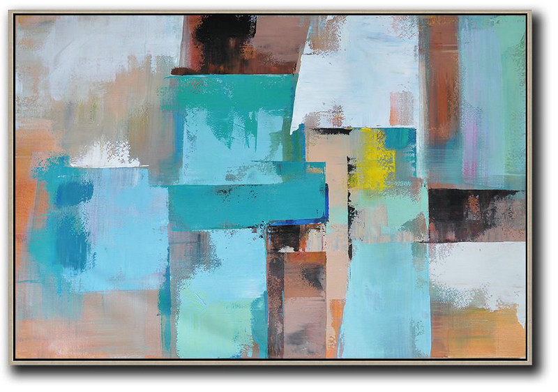 Large Abstract Art,Horizontal Palette Knife Contemporary Art,Unique Canvas Art,Lake Blue,Pink.Brown,Yellow.etc