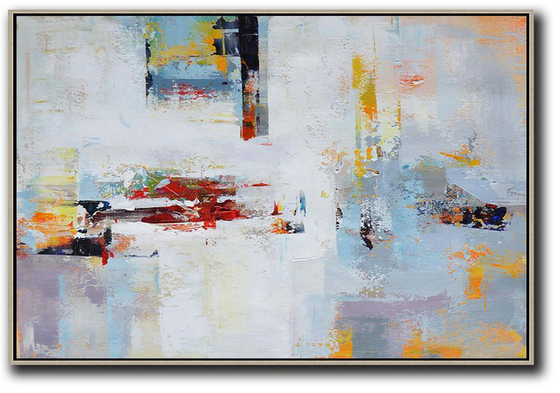 Handmade Large Palette Knife Contemporary Art,White,Red,Grey,Purple,Sky Blue.etc