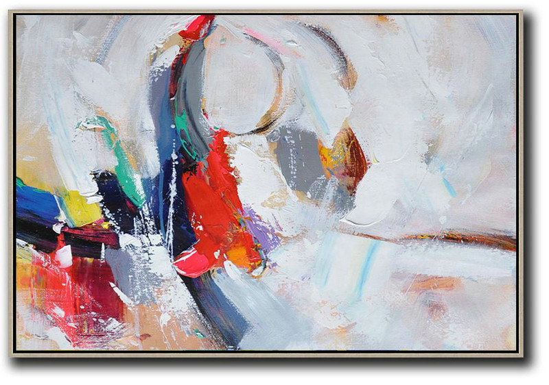 Abstract Painting For Home,Horizontal Palette Knife Contemporary Art,Hand Painted Aclylic Painting On Canvas,White,Grey,Dark Blue,Red.etc