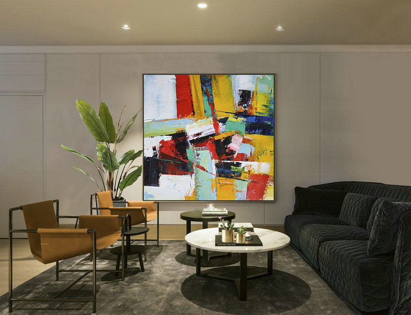 Large Abstract Art Handmade Painting,Oversized Palette Knife Painting Contemporary Art On Canvas,Lounge Room Decor,Yellow,Red,Light Green.etc