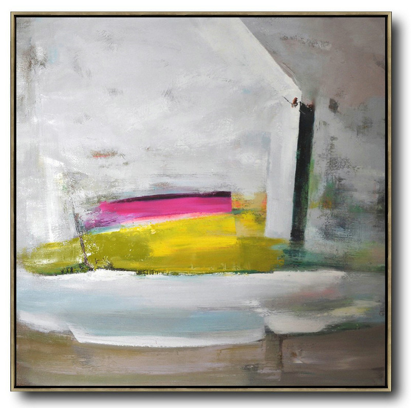 Handmade Painting Large Abstract Art,Oversized Palette Knife Painting Contemporary Art On Canvas,Big Wall Art For Living Room,Grey,Pink,Yellow.etc