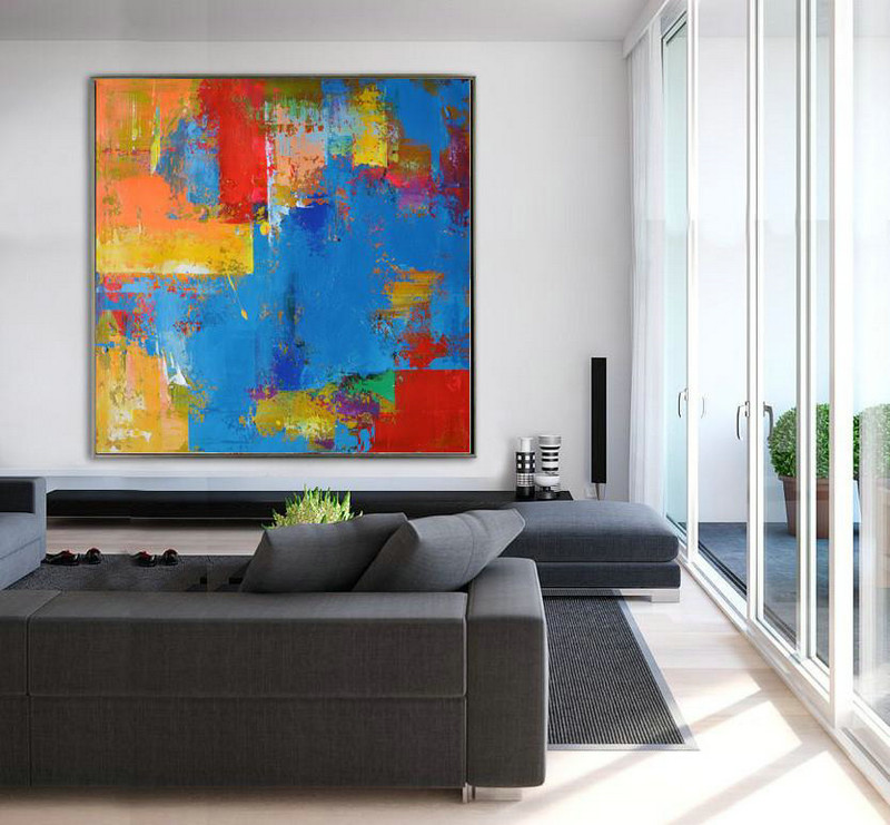 Handmade Large Contemporary Art,Oversized Palette Knife Painting Contemporary Art,Modern Living Room Decor,Blue,Yellow,Red,Purple.etc