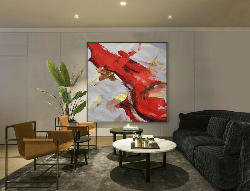 Hand Painted Extra Large Abstract Painting,Oversized Palette Knife Painting Contemporary Art On Canvas,Large Living Room Wall Decor,Grey,Red,Brown,Yellow.etc