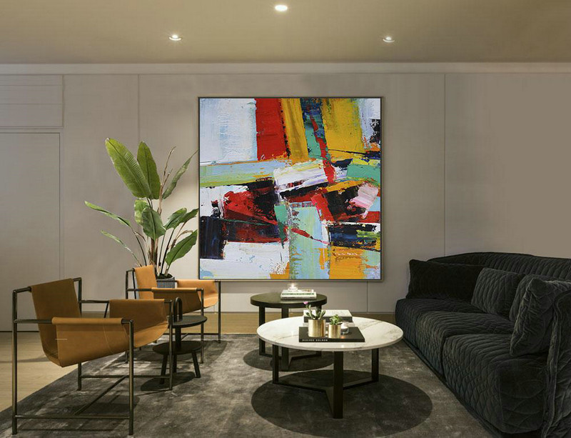 Large Abstract Art,Oversized Palette Knife Painting Contemporary Art On Canvas,Modern Abstract Wall Art,Grass Green,Red,Yellow,Black.etc