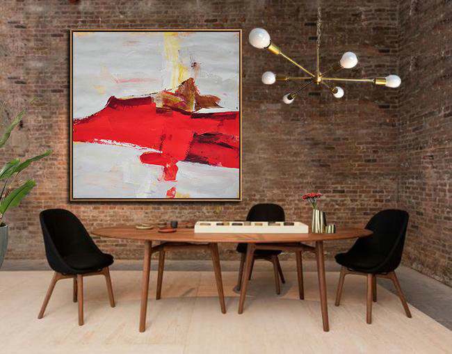 Abstract Painting Extra Large Canvas Art,Oversized Palette Knife Painting Contemporary Art On Canvas,Colorful Wall Art,Grey,Red,Yellow,Brown.etc - Click Image to Close