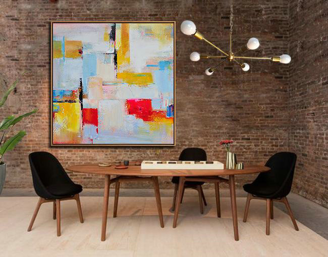 Extra Large Canvas Art,Oversized Palette Knife Painting Contemporary Art On Canvas,Wall Art Ideas For Living Room,Grey,Yellow,Red,Sky Blue.etc