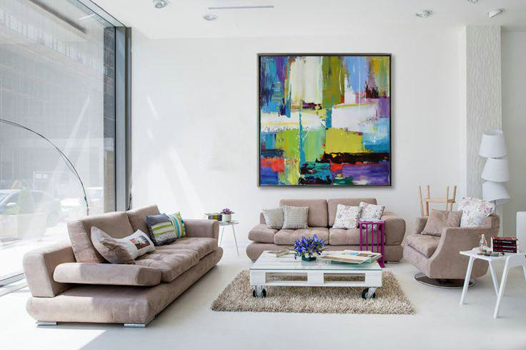 Handmade Large Contemporary Art,Oversized Palette Knife Painting Contemporary Art On Canvas,Extra Large Canvas Art,Handmade Acrylic Painting,Green,Yellow,White,Purple,Blue,Red.etc