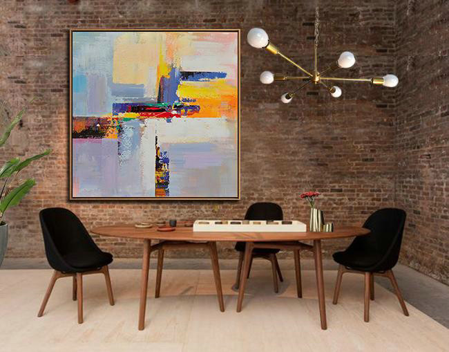 Extra Large Abstract Painting On Canvas,Oversized Palette Knife Painting Contemporary Art On Canvas,Pop Art Canvas,Blue,Yellow,Red,Pink Purple.etc