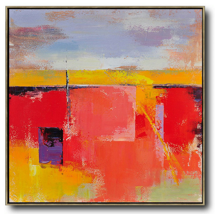 Huge Abstract Painting On Canvas,Oversized Palette Knife Painting Contemporary Art On Canvas,Family Wall Decor,Red,Blue,Yellow,Purple.etc