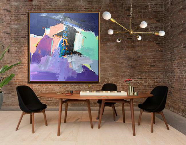 Large Abstract Art Handmade Painting,Oversized Palette Knife Painting Contemporary Art On Canvas,Hand Painted Acrylic Painting,Dark Blue,Nude,Purple,Light Green.etc