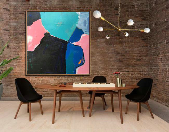"Extra Large 72"" Acrylic Painting,Oversized Palette Knife Painting Contemporary Art On Canvas,Large Living Room Decor,Black,Pink,Light Green,Blue.etc"