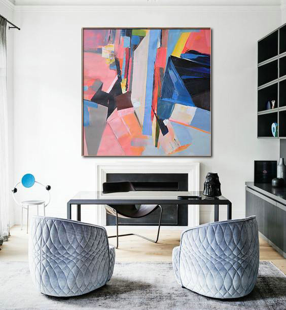 Original Painting Hand Made Large Abstract Art,Oversized Palette Knife Painting Contemporary Art On Canvas,Giant Wall Decor,Pink,Blue,Dark Blue,Red,Yellow.etc