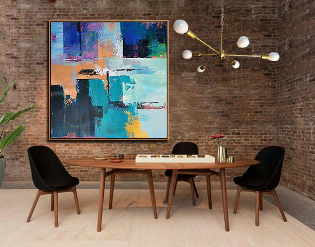 Handmade Painting Large Abstract Art,Oversized Palette Knife Painting Contemporary Art On Canvas,Hand-Painted Contemporary Art,Blue,Purple,Green,Yellow,Orange.etc