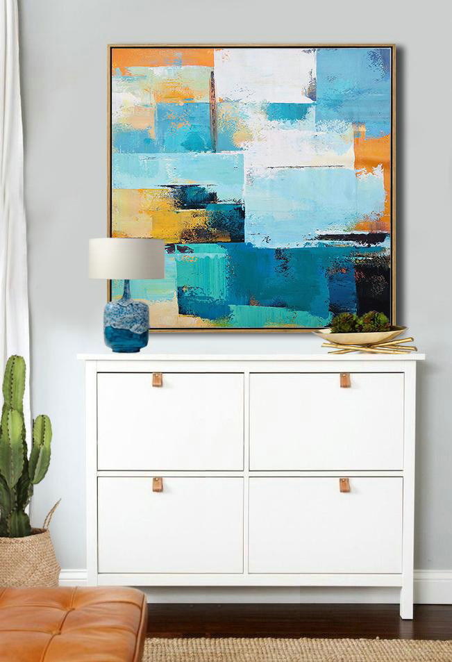 Oversized Palette Knife Painting Contemporary Canvas Art,Navy Blue,Sky Blue,White,Yellow,Black.etc