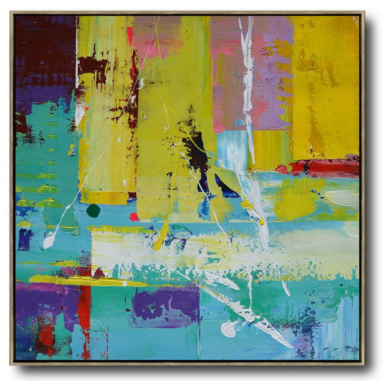 Extra Large Acrylic Painting On Canvas,Oversized Palette Knife Painting Contemporary Art On Canvas,Modern Art Abstract Painting,Lake Blue,Purple,Yellow,Red.etc