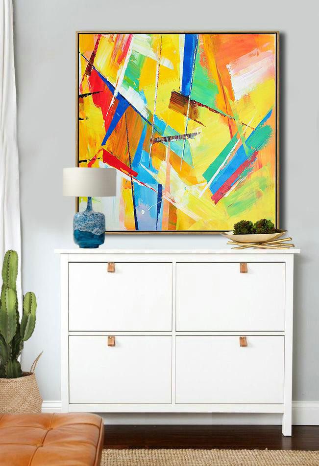Original Artwork Extra Large Abstract Painting,Oversized Palette Knife Painting Contemporary Art On Canvas,Huge Abstract Canvas Art,Yellow,Light Green,Red,Blue,Pink.etc