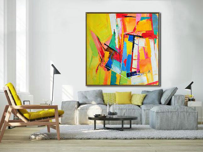 Extra Large Painting,Oversized Palette Knife Painting Contemporary Art On Canvas,Hand Painted Canvas Art,Yellow,Blue,Red,Pink,Light Green.etc