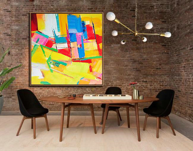 Extra Large Acrylic Painting On Canvas,Oversized Palette Knife Painting Contemporary Art On Canvas,Big Painting,Yellow,Red,Blue,Pink,Light Green.etc