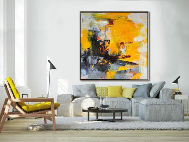 Extra Large Abstract Painting On Canvas,Oversized Palette Knife Painting Contemporary Art On Canvas,Original Abstract Painting Canvas Art,Black,Yellow,White,Red,Grey.etc