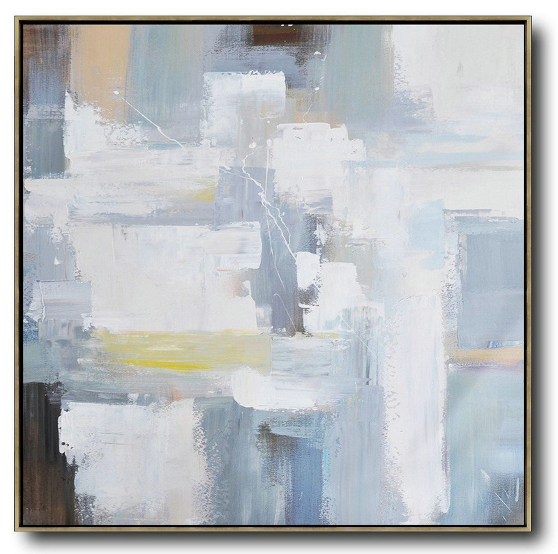 Abstract Painting Extra Large Canvas Art,Oversized Palette Knife Contemporary Art,Contemporary Artwork,Grey,White,Blue,Yellow.etc