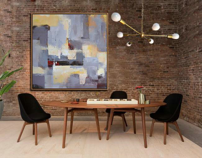 Original Abstract Painting Extra Large Canvas Art,Oversized Palette Knife Painting Contemporary Art On Canvas,Hand Paint Large Clean Modern Art,Grey,Blue,Red,Yellow.etc