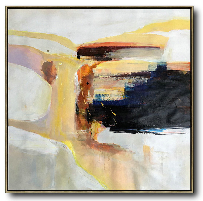 Handmade Extra Large Contemporary Painting,Oversized Palette Knife Contemporary Art,Xl Large Canvas Art,Yellow,Black,Orange,White,Beige.etc